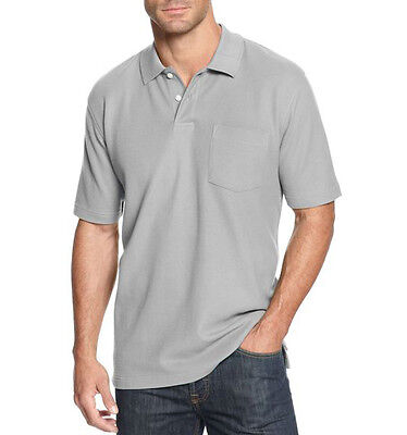New John Ashford JA Mens Big and Tall Pocket Pique Polo Shirt Lt Grey Heather