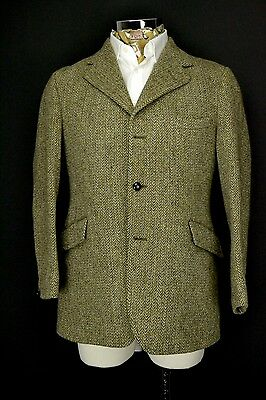 "40"" Short Dunn & Co Harris Tweed 3 Button Jacket Green Blue Herringbone"
