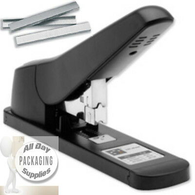 1 Large Strong Heavy Duty Stapler With Lever + 1000 Staples 100 Paper Sheets