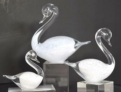 Vintage Three (3) Clear & White Hand-Blown Glass Swans~Sweden