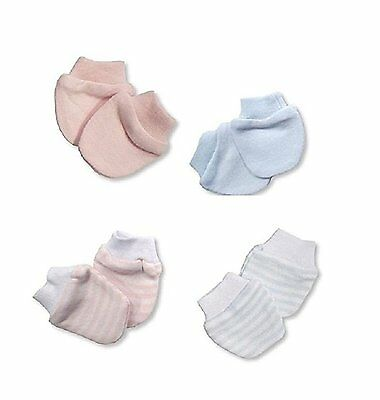 2 Pack Premature Baby Scratch Mittens Blue Pink White - 100% Cotton