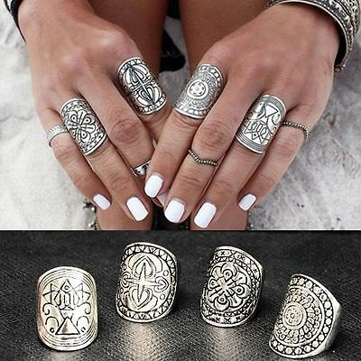 Rings Ethnic Vintage Silver Carved Beauty Wide Women's Beautiful Ring Jewelry
