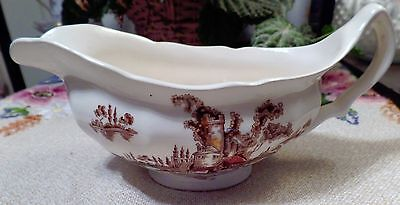 JOHNSON BROTHERS china THE OLD MILL brown/multicolor Gravy Boat - no underplate