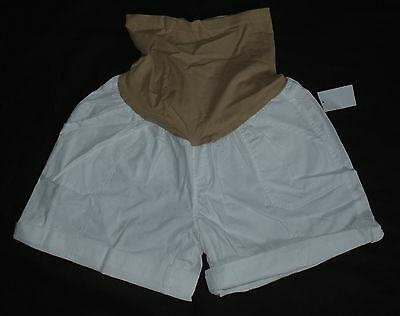 Oh Baby by Motherhood Maternity Secret Fit Belly Cuffed Shorts White Size M/L/XL