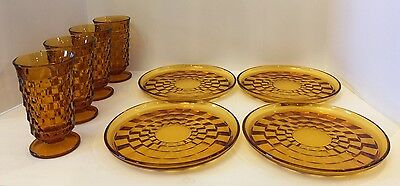 """Set of 4 Amber Glass Footed 6"""" Tumbler Indiana Whitehall Colony Cubist W/ Plates"""