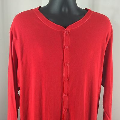 Red Thermal Union Suit XXL Tall Long Handles Button Front One Piece