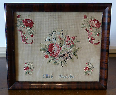 ANTIQUE 19th C 1860s PUNCH PAPER Sampler PA Floral FOLK ART Bossler FRAME