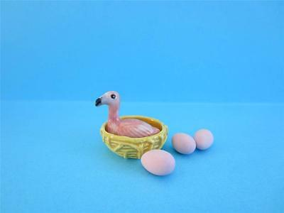 Amazing Miniature Porcelain, Mother Flamingo Figurine Nest/3 Pink Egg *so Cute!*