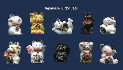 ThAMAZING MINIATURE PORCELAIN, LUCKY CAT FIGURINE WITH GOLD TRIM COLLECTION SET
