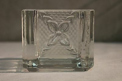 Partylite Celebration Votive Tealight Candle Square Frosted Glass Holder EUC