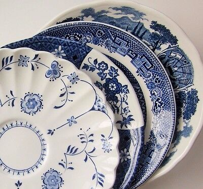 Mismatch China Saucers Dessert Plate Blue Floral Country Vintage Shabby Chic
