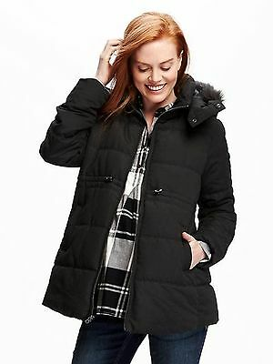 OLD NAVY Maternity Frost Free Fur Puffer Black Winter Jacket Coat  M, XXL,2XL