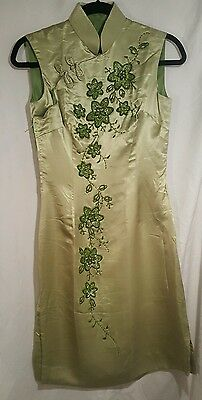 Vintage Brocade Light Green Cheongsam Silk Dress Thailand EXC 12  *Worldwide*