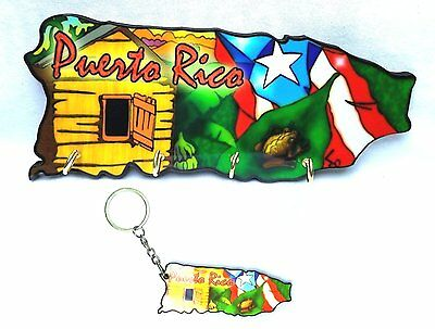 LOT OF 1 Puerto Rico Souvenir Home Wall Keychain HOLDER & 1 Key holder Rican #3
