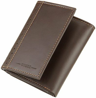 New Men's Guess Credit Card Wallet Trifold 8124 Brown