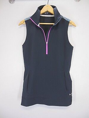 NIKE GOLF 1/2 Zip Pullover Sleeveless VEST JACKET Size Small S Grey Pink Dri-Fit