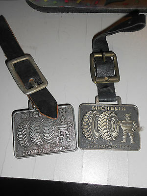 VINTAGE Lot of 2 Michelin Earthmover tires KEY CHAIN METAL