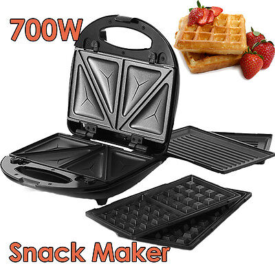 3-in-1 Snack Maker Electrical Sandwich Waffle Doughnut Grill Non Stick