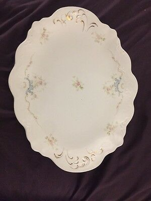 "16"" Johnson Bros England Large Serving Platter Royal Vintage Antique Floral Gold"