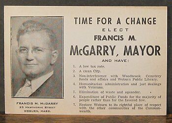 Woburn MA 1945 mayoral campaign advertising card, Francis M. McGarry