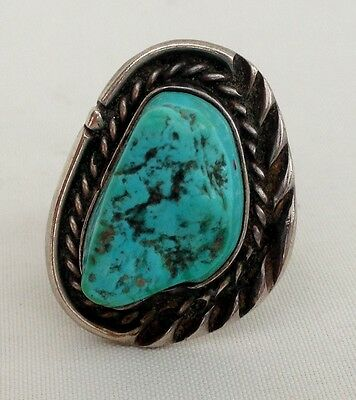 Old Pawn Sterling Silver & MASSIVE Turquoise  Nugget Primitive Native Made Ring