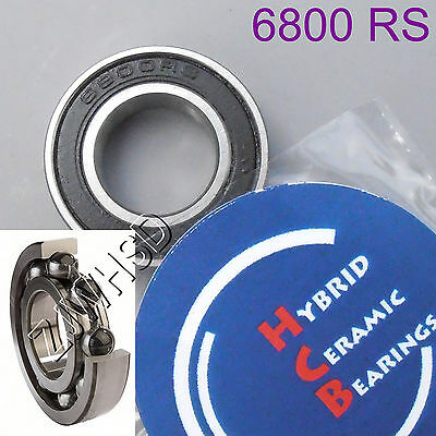 6800 2RS Si3N4 Hybrid Ceramic Ball Bearing Rubber Sealed 61800 10 x 19 x 5mm