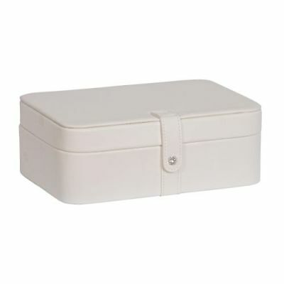New Lila Forty-Eight Section Jewelry Box in Ivory Faux Leather