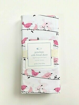 New POTTERY BARN KIDS PENELOPE Bird Pink CRIB FITTED SHEET
