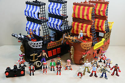 Fisher Price Imaginext Black & Brown Pirate Ship Lot 2 Ships & Figures