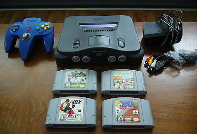 Nintendo 64 N64 console with 4x game lot + controller very Good condition LOOK