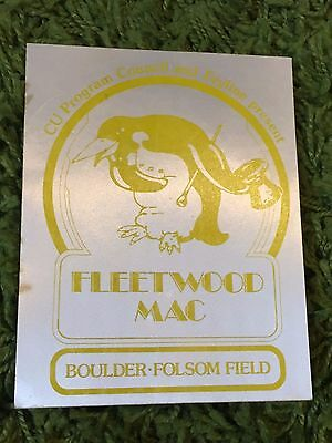 Fleetwood Mac Large Vintage Backstage Pass Authentic Boulder Colorado