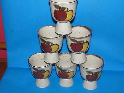 New With Stickers Otagiri   Double Egg Cups Apples  Stoneware  Set Of 6
