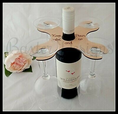 Wooden 2 3 4 Wine Glass Holder over Bottle Caddy Humour