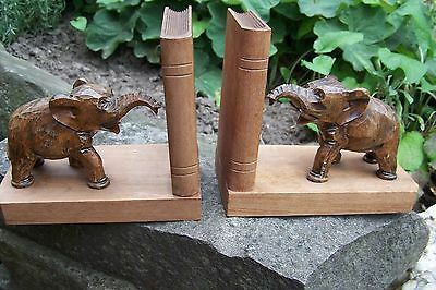 RARE GERMAN WOOD CARVED ELEPHANTS BOOKENDS SIGNED Book Ends