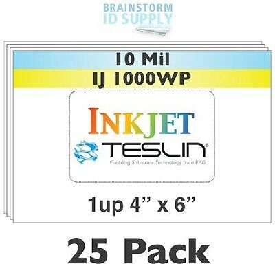 """Inkjet Teslin® Paper - 4"""" x 6"""" - 1-Up Perforated"""