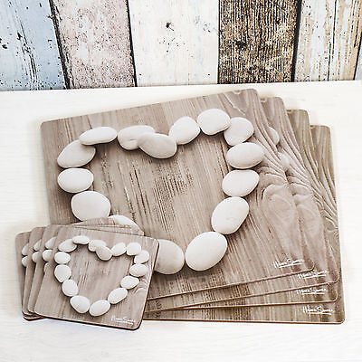 Set of 4 Placemats & Coasters Table Place Settings Mats Shabby Chic Pebble Heart