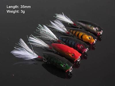 5 X Fishing  Small Size Popper Lures For Estuary Surface Fishing Bream Whiting.A