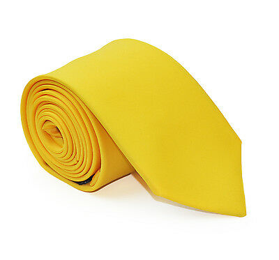 Mens Daffodil Yellow 7cm Wedding Business Formal Tie & Accesories