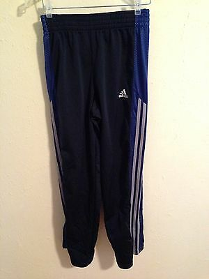 Adidas Boys XL Snap Side Athletic Warm-up Pants Blue With Gray Stripes