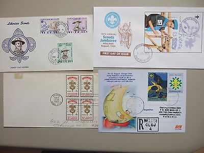 Four SCOUTING covers:Liberia fdc,Ghana fdc SS,Romania registered PS,Canal Zone