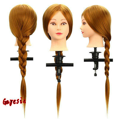 Salon 30% Real Hair Long Hairdressing Mannequin Training Practice Head + Clamp