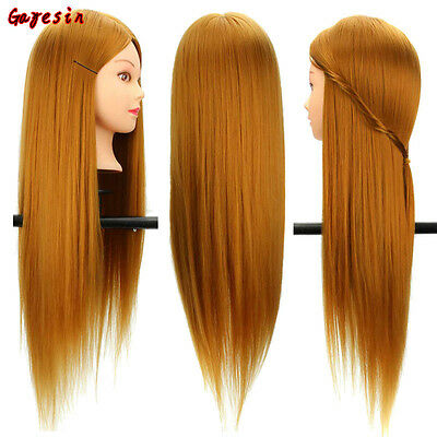 28 Inch 30% Real Human Gold Hair Long Hairdressing Salon Mannequin Training Head