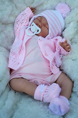 Butterfly Babies Stunning Reborn Baby Girl Sofia Stripe Bobble Hat Dummy