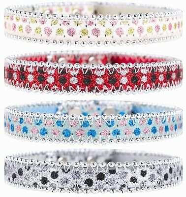 Glitter Bling Beaded Dog Collar -  Pink Blue Black Red (Small)
