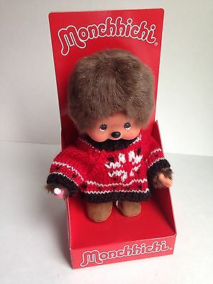 "MONCHHICHI Boy Original 7.5"" Holiday Sweater Plush Monkey Toy Doll, NEW"