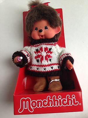 "MONCHHICHI Girl Original 7.5"" Holiday Sweater Plush Monkey Toy Doll, NEW"
