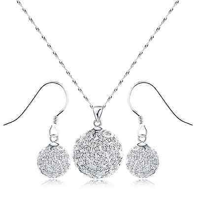 S925 Sterling Silver Crystal Pendant & Earrings Set(White Earring and Necklace)