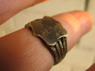 Very Nice Bronze Medieval Ring With Ornament #4997