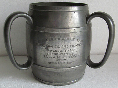 "VERY EARLY 3 HANDLED PEWTER GOLF TROPHY DYKER MEADOW GC 1897  6 1/4"" tall"