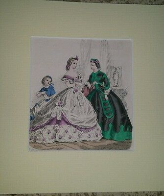 Hand-tinted 19thC French Fashion Mag Plate  Mounted Costume Ball Gown Ladies